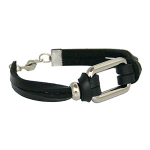Leather bracelet, 'Wrist Lock'