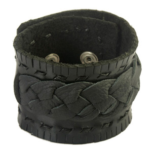 Leather bracelet, 'New Black Braid'
