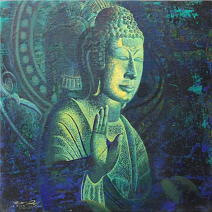Acrylic on canvas, 'Buddhist Blessing'
