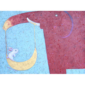 Acrylic on canvas, 'Moon Swing'