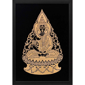 Framed Leather Silhouette, 'Gold Buddha'