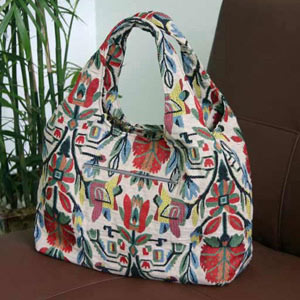 Cotton shoulder bag, 'Floral Mirage' (Arch)