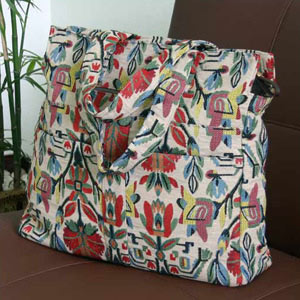 Cotton tote shoulder bag, 'Floral Mirage'