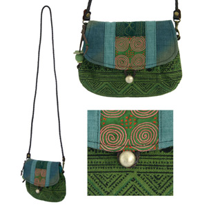 Leather and cotton shoulder bag, 'Green Tribe'