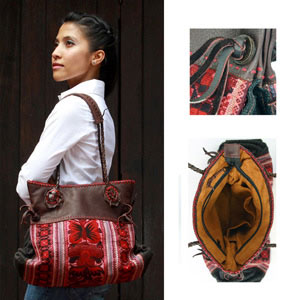 Leather and cotton shoulder bag, 'Ethnic Lady'