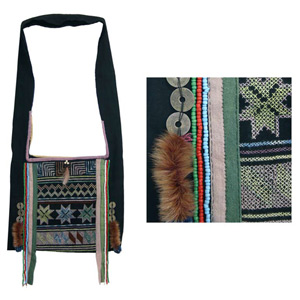 Akha cotton shoulder bag, 'Pamee Faith'