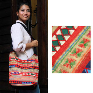 Cotton shoulder bag, 'Tribal Day'