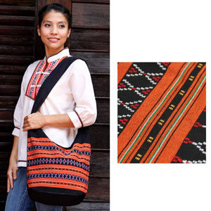 Cotton shoulder bag, 'Orange Diamond'