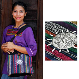 Cotton shoulder bag, 'Rainbow'