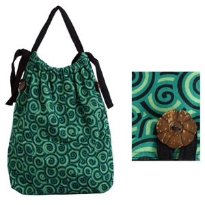 Cotton shoulder bag, 'Green Waves' (medium)