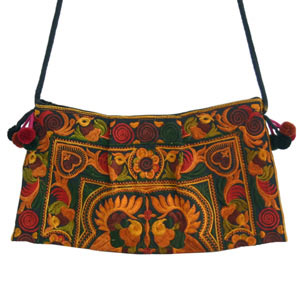Cotton shoulder bag, 'Copper Spirit'