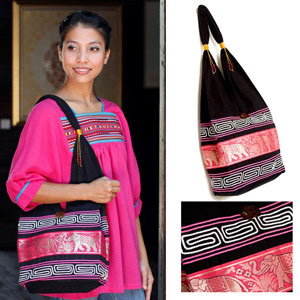 Cotton and polyester shoulder bag, 'Pink March'
