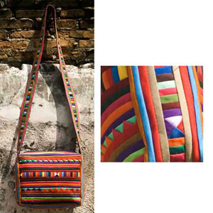 Cotton shoulder bag, 'Lisu Celebration'