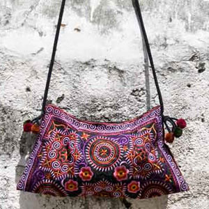 Cotton shoulder bag, 'Dark Flowers'