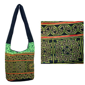 Cotton shoulder bag, 'Fluorescence'
