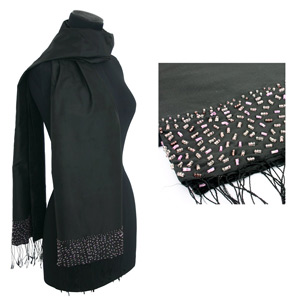 Beaded silk scarf, 'Dark Elegance'