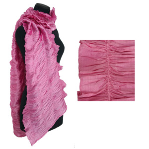 Rayon and silk scarf, 'Pink Ruffles'