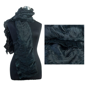 Rayon and silk scarf, 'Black Ruffles'