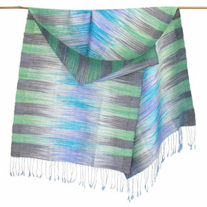 Silk scarf, 'Forests Colors'