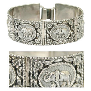 Sterling silver bracelet, 'Elephant Journey'