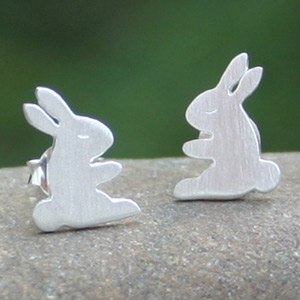 Sterling silver button earrings, 'Young Rabbits'