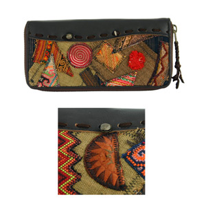 Leather and cotton wallet, 'Earth Patches'