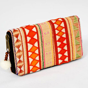 Cotton Akha purse, 'Hill Tribe Destiny'