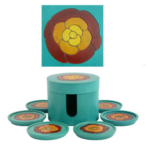 Mango wood coasters set, 'Bright Flower'