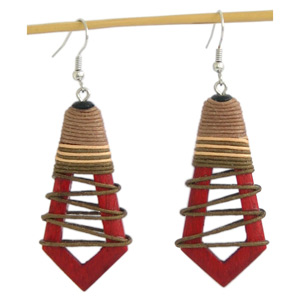 Kapok wood earrings, 'Sweet Cherry'