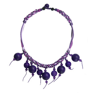 Kapok wood pendant necklace, 'Purple Orbs'