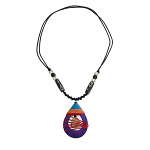 Kapok wood and agate necklace, 'Purple Dewdrop'