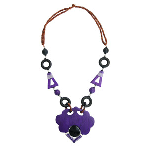 Kapok wood necklace, 'Purple Empress'