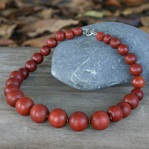 Kapok wood necklace, 'Brown Bubbles'