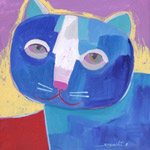 Acrylic on canvas, 'Blue Cat'