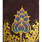 Acrylic on canvas, 'Golden Lotus Stream'