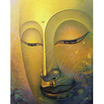 Acrylic on canvas, 'Golden Light of Dharma'