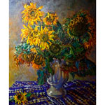 Oil on canvas, 'Bouquet of Sunflowers'