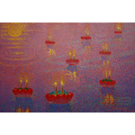 Acrylic on canvas, 'Loy Krathong'