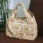 Cotton shoulder bag, 'Ginger Cubism' (Arch)