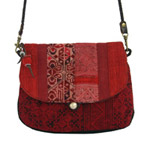 Leather and cotton shoulder bag, 'Red Tribe'