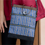 Leather and cotton shoulder bag, 'Blue Naka'