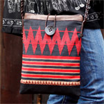 Leather and cotton shoulder bag, 'Red Naka'