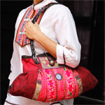 Leather and cotton shoulder bag, 'Bright Cherry'
