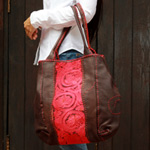 Leather and cotton shoulder bag, 'Princess'