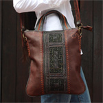 Leather and cotton notebook bag, 'Hill Tribe Chic'