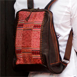 Leather and cotton backpack, 'Mountain Spell'