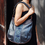 Leather and cotton shoulder bag, 'Hill Tribe Chic'