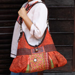 Leather and cotton shoulder bag, 'Orange Fan'
