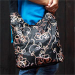 Cotton and polyester shoulder bag, 'Black Garden'
