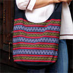 Cotton shoulder bag, 'Wheat Sowing'